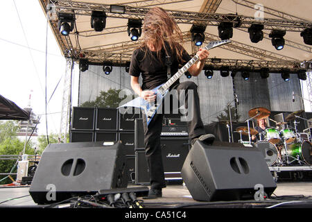ZAGREB, CROATIA, June 8 2012. Christian Andreu (guitar) of the band Gojira performing at Rokaj (trans: Rock!) festival - Stock Photo