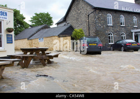 Saturday 9th June 2012. The village of Talybont in north Ceredigion, severely affected by overnight flash flooding. - Stock Photo