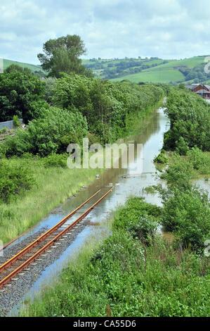 Saturday 9th June 2012. The narrow gauge railway track of the Vale of Rheidol railway covered in floodwater in Aberystwyth, - Stock Photo