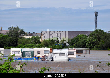 Saturday 9th June 2012. Flooded caravans at a holiday park on the banks of the River Rheidol in Aberystwyth, West - Stock Photo