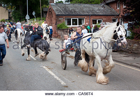 Appleby, Cumbria, UK. 9th June 2012. A man  struggles to control his horse. Appleby Horse Fair for the annual gathering - Stock Photo