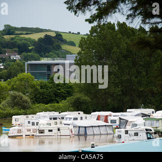 Sunday 10 June 2012. Aberystwyth Holiday Village (with the regional offices of the Wales Government in the background) - Stock Photo