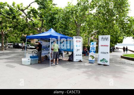 BRACCIANO LAKE, TREVIGNANO ROMANO, LAZIO, ITALY - June 10, 2012: Italian Bass Fishing Tournament - The second test, - Stock Photo