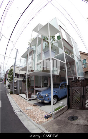June 11, 2012, Tokyo, Japan - The transparent house 'House NA' designed by Sou Fujimoto is located in a residential - Stock Photo