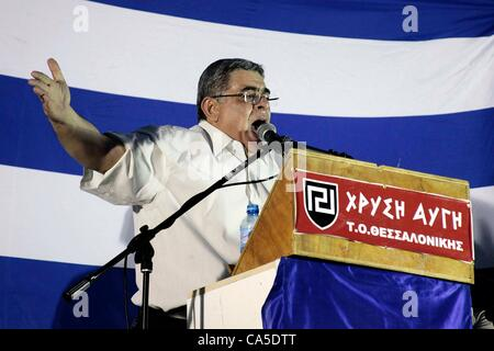 June 10, 2012. Thessalonika, Greece. Nikolaos Michaloliakos the leader of far right party Golden Dawn (Chrysi Avgi), - Stock Photo