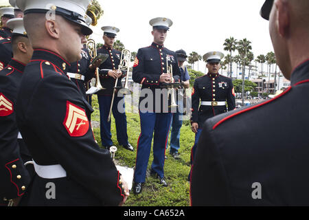 June 14, 2012 - San Clemente, California, U.S - The 1st Marine Division Band harmonize before the start of the ceremony for the 2nd Battalion, 4th Marines at Park Semper Fi. Six hundred Marines from the 2/4, also known as 'Magnificent Bastards', were welcomed home as San Clemente's adopted unit whom