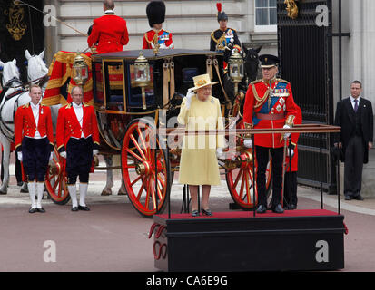 Queen Elizabeth II  and Prince Philip Duke of Edinburgh  at  Buckingham Palace  at the Trooping of the Colour Ceremony - Stock Photo