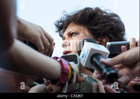 Brazilian Environment Minister Isabel Teixera answers a barrage of questions from the press. The People's Summit - Stock Photo