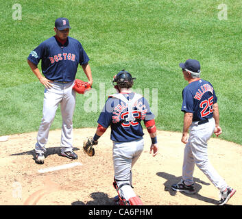 Daisuke Matsuzaka (Red Sox), JUNE 15, 2012 - MLB : Catcher Jarrod Saltalamacchia and manager Bobby Valentine of - Stock Photo