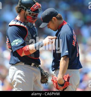 (L-R) Jarrod Saltalamacchia, Daisuke Matsuzaka (Red Sox), JUNE 15, 2012 - MLB : Catcher Jarrod Saltalamacchia of - Stock Photo