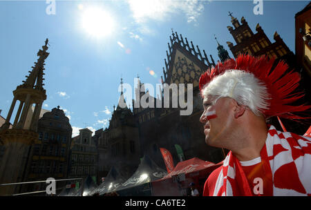 EURO 2012, soccer, Group A. Polish fans in Wroclaw before the forthcoming match Czech Republic against Poland. Wroclaw, - Stock Photo