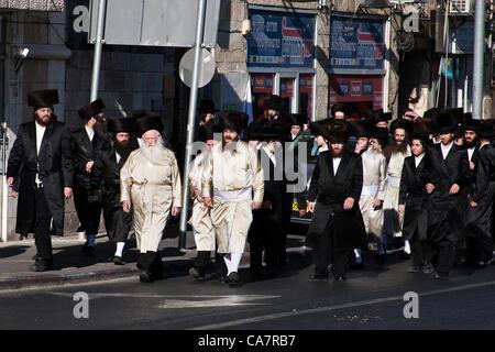 Ultra-Orthodox Haredim riot along Haneviim, The Prophets' Road, in an attempt to block traffic on the Jewish Sabbath. - Stock Photo