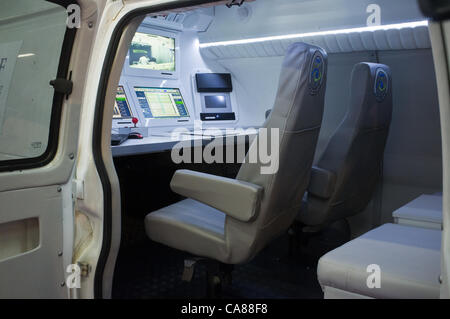 Maof Aerial Sensing displays a command and control van for unmaned drones carrying video surveillance equipment - Stock Photo
