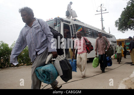 Freed Indian fishermen, who were imprisoned for violating  territorial waters, come out from Malir prison after - Stock Photo