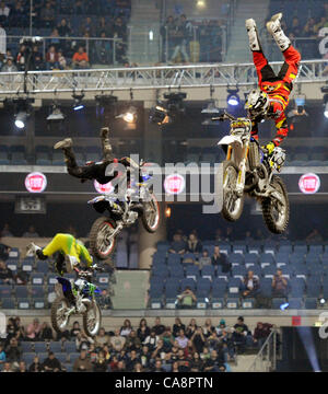 Freestyle Motocross Show Gladiator Games in Prague, Czech Republic, November 3, 2011. (CTK Photo/Michal Krumphanzl) - Stock Photo