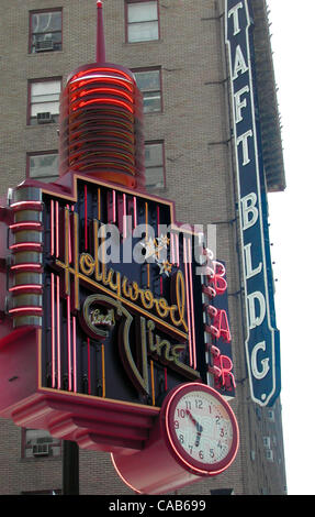 May 08, 2004; Los Angeles, CA, USA; The famous corner of Hollywood Blvd. and Vine Street. - Stock Photo