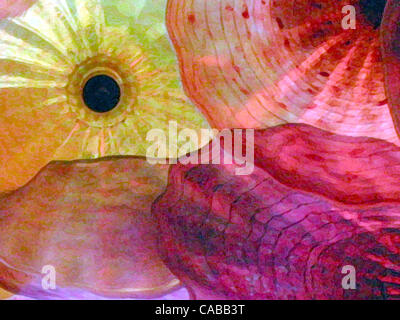 Jun 03, 2004; Los Angeles, CA, USA; Abstract glass flowers. - Stock Photo