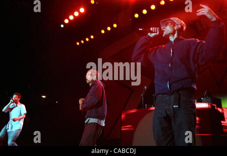 The Beastie Boys, from left, Adrock, MCA and Mike D perform during the Live 105 BFD concert at the Shoreline Theatre - Stock Photo