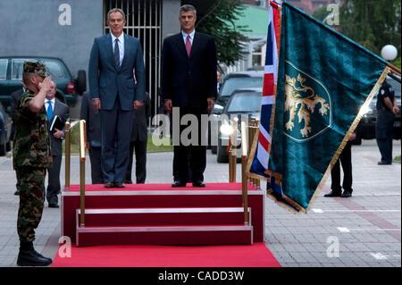July 08, 2010 - Pristina, Pristina, Kosovo - Britain's former prime minister TONY BLAIR (centre) and his host Kosovo's - Stock Photo