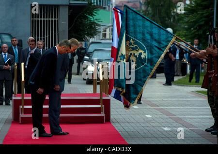 July 08, 2010 - Pristina, Pristina, Kosovo - Britain's former prime minister TONY BLAIR and his host Kosovo's prime - Stock Photo