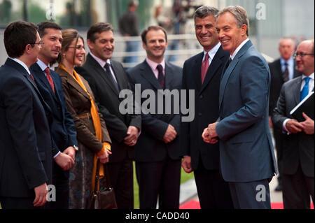 July 08, 2010 - Pristina, Pristina, Kosovo - Britain's former prime minister TONY BLAIR (front right) and his host - Stock Photo