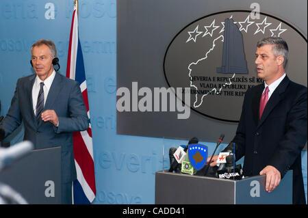 July 08, 2010 - Pristina, Pristina, Kosovo - Britain's former prime minister TONY BLAIR (left) and his host Kosovo's - Stock Photo