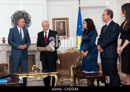 July 08, 2010 - Pristina, Pristina, Kosovo - Britain's former prime minister TONY BLAIR (left) during the meeting - Stock Photo