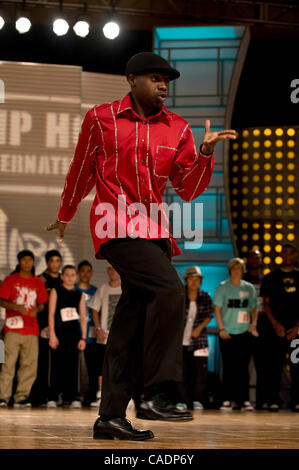 July 31, 2010 - Las Vegas, Nevada, USA - DERRICK SAMUEl, aka Dee Rock, competes in the World Popping Battle during - Stock Photo