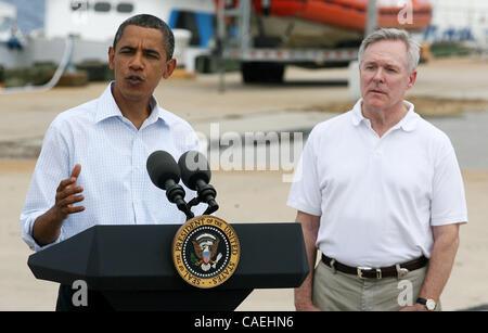 United States President Barack Obama speaks at a Coast Guard base next to Secretary of the Navy Ray Mabus in Panama - Stock Photo