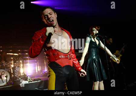 The Scissor Sisters performing at Terminal 5 in NYC on August 24, 2010.  Jake Shears - vocals   Ana 'Ana Matronic' - Stock Photo