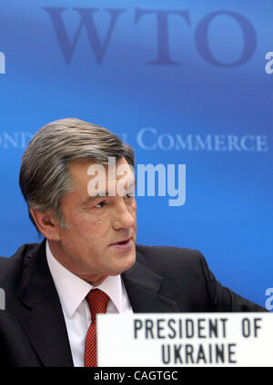 February 5, 2008, Geneve. Ukraine has joined the World Trade Organisation. Ukrainian President Viktor Yushchenko - Stock Photo