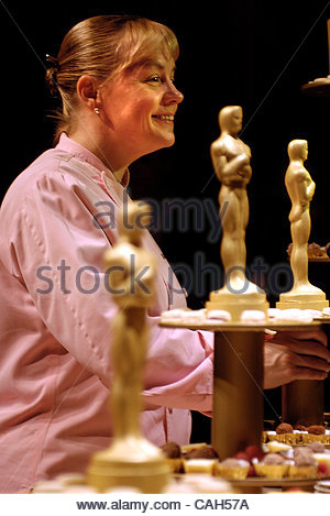 Sherry Yard, dessert chef from Wolfgang Puck Caters, smiles during the Governors Ball Press Preview on Wednesday, - Stock Photo