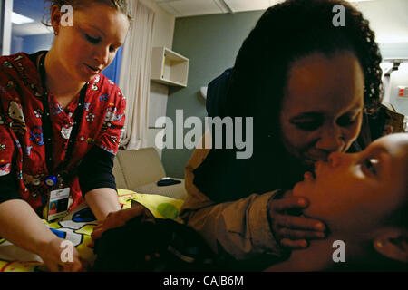 Jan 12, 2008 - St. Paul, Minnesota, USA - At Gillette Children's Specialty Healthcare, nursing assistant JENNIFER - Stock Photo