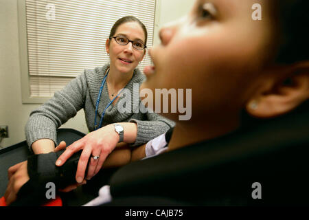 Jan 12, 2008 - St. Paul, Minnesota, USA - At Gillette Children's Specialty Healthcare, occupational therapist ANNA - Stock Photo