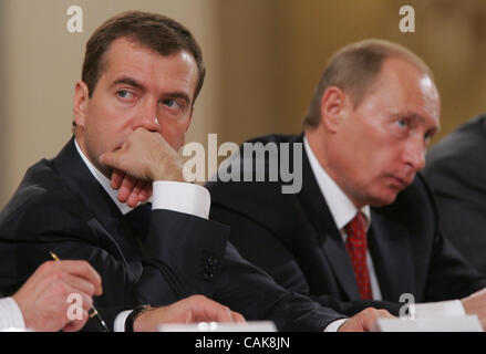 (l-r) first vice premier Dmitri Medvedev and russian president Vladimir Putin at the goverment session in Moscow - Stock Photo