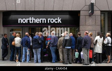 Sep 17, 2007 - London, England, United Kingdom - Brussels has approved a plan to split Northern Rock into 'good' - Stock Photo