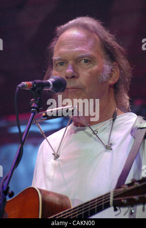Sept. 9, 2007 - New York, NY, USA - Musician NEIL YOUNG performs live at the 2007 Farm Aid Concert that took place - Stock Photo