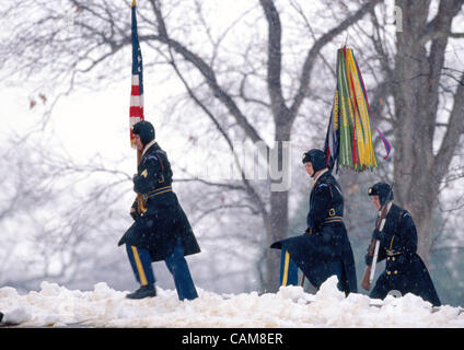 Feb. 24, 2004 - Arlington, Virginia, U.S. - Members of the Color Guard for the Army's 3rd Infantry Division, Old - Stock Photo