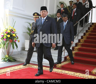 September 6, 2007.Russian President Vladimir Putin(not pictured) visiting Indonesia. Indonesian President Susilo - Stock Photo