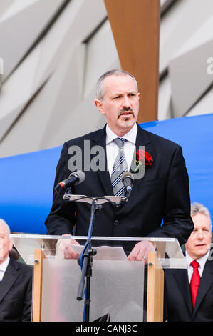 Belfast, UK. 31/03/2012. Tim Husbands (Titanic Belfast) officiates at the opening of Belfast's Titanic Signature - Stock Photo