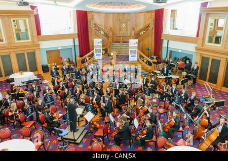 Belfast, UK. 31/03/2012. Belfast Youth Orchestra play in the grand ballroom of Belfast's Titanic Signature Building - Stock Photo