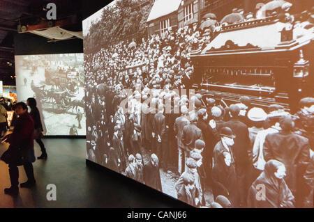 Exhibits describing shipbuilding in Belfast inside the Titanic Signature Building visitors centre - Stock Photo