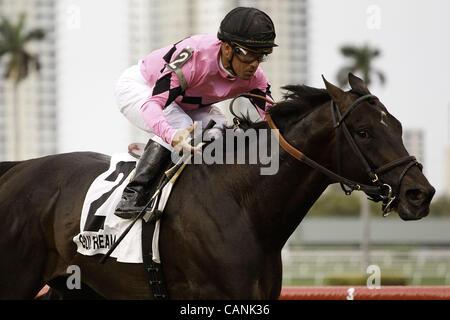 March 31, 2012 - Hallandale Beach, Florida, U.S. - Corporate Jungle withjockey Javier Castellano up winning the - Stock Photo