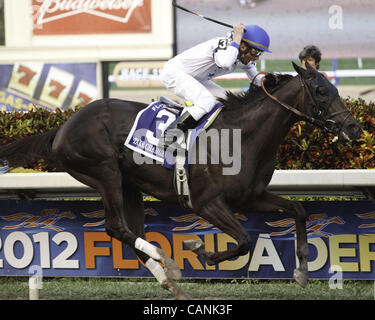 March 31, 2012 - Hallandale Beach, Florida, U.S. - Take Charge Indy with Calvin Borel up wins the Florida Derby - Stock Photo