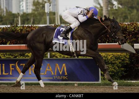 March 31, 2012 - Hallandale Beach, Florida, U.S. - Take Charge Indy with jockey Calvin Borel winning the Florida - Stock Photo