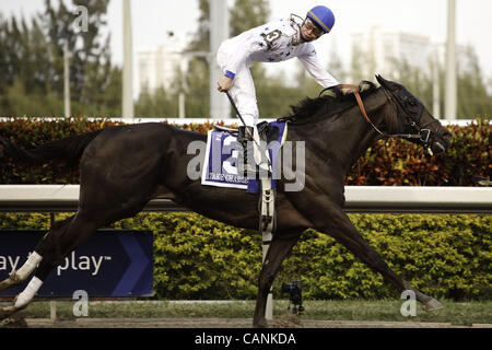 March 31, 2012 - Hallandale Beach, Florida, U.S. - Take Charge Indy with jockey CALVIN BOREL wins the Florida Derby - Stock Photo