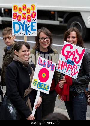 The London Dyke March starts in Soho Square and heads to Waterloo. It aimed to raise visibility and included dykes, - Stock Photo