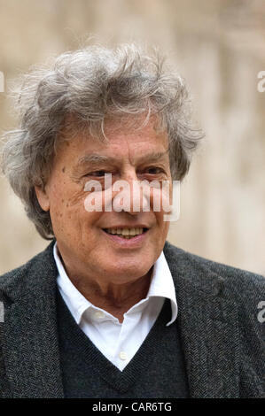 Sir Tom Stoppard at a press conference at the India Theatre in Rome, Italy, with members of the Belarus Free Theatre, - Stock Photo