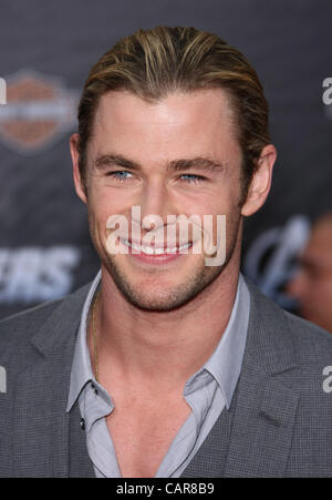 CHRIS HEMSWORTH THE AVENGERS. WORLD PREMIERE HOLLYWOOD LOS ANGELES CALIFORNIA USA 11 April 2012 - Stock Photo