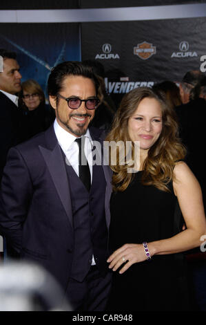 April 12, 2012 - Hollywood, California, U.S. - Robert Downey Jr. and Susan Downey during the premiere of the new - Stock Photo